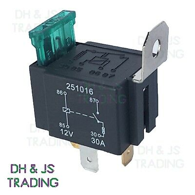 12V Relay 4 PIN Automotive 30AMP 30a Normally Open Contact Fused RY28 + 30a Fuse • 3.45£