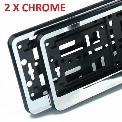 2x GLOSS CHROME Number Plate Surrounds Holders Frame For Van • 10.98£