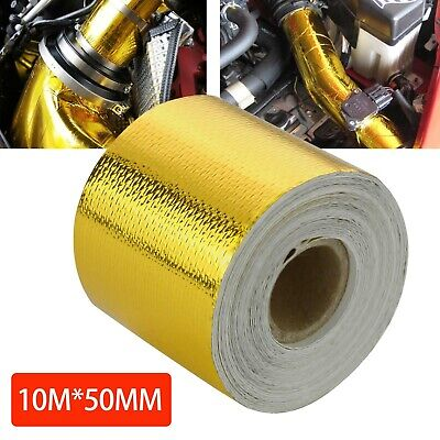 50mm * 10M Roll Adhesive Reflective Gold High Temperature Heat Shield Wrap Tape • 8.39£