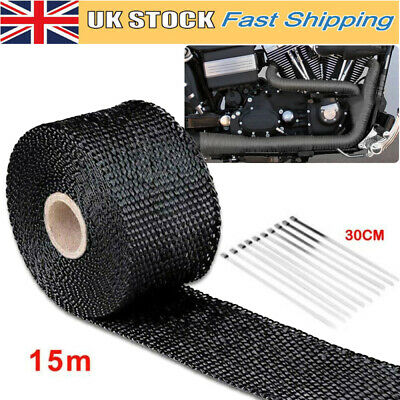 15m Titanium Thermal Heat Wrap Exhaust Manifold Downpipe Tape With Cable Ties Uk • 10.38£