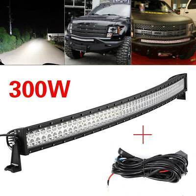 300W Car FLOOD SPOT CURVED LED LIGHT BAR DRIVING OFFROAD LAMP 52 INCH SUV UK • 87.99£