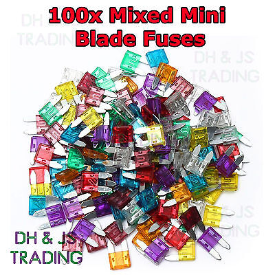 100x Mixed Mini Blade Fuses Assorted 10 X 30 A - 2a Car Fuse ATM Motorbike Boat • 3.95£