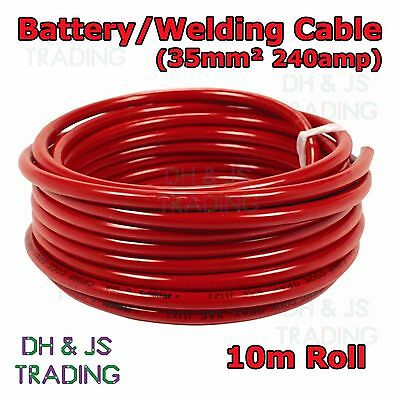10m Red Battery Welding Cable 35mm² 240a - Flexible Marine Boat Automotive Wire • 42.99£
