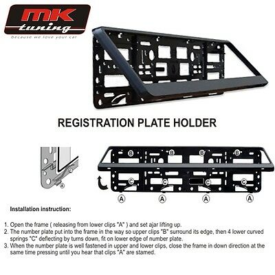 2 X Black Glossy Number Plate Holder Licence Plate Surround Frame ABS PC O2 • 10.86£