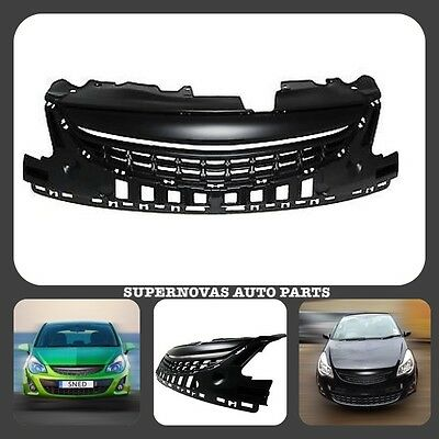 Opel Vauxhall Corsa D 2011>2014 Facelift Black Debadged Front Radiator Grille • 79.98£