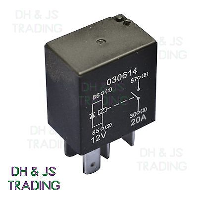 Micro Relay 4 PIN 12v 20a + Diode Normally Open Mini 20 Amp CAR VAN MARINE MRY3 • 2.65£
