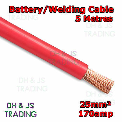 5m Red Battery Welding Cable 25mm² 170a Flexible Marine 4AWG 4 Gauge Power OFC • 19.45£