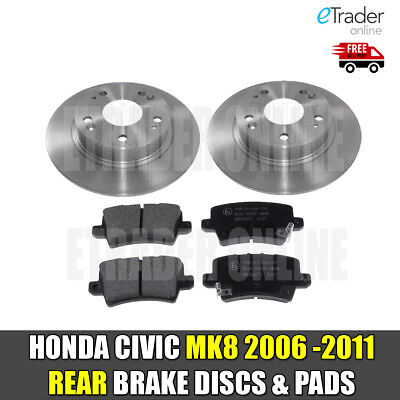 For HONDA CIVIC MK8 1.4 1.8 2.2 CDTi 06-11 REAR BRAKE DISCS & AND PADS NEW • 39.98£