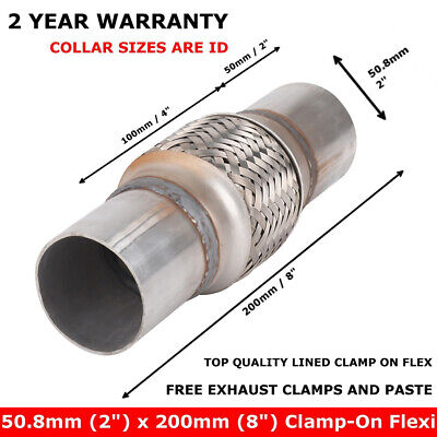 Exhaust Clamp-on Flexi Tube Joint Flexible Pipe Repair & Clamps 50 X 200mm UK • 8.69£