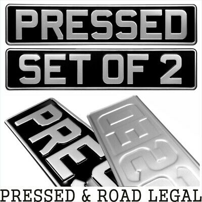SET OF 2 OBLONG Black And Silver Pressed Number Plates Car Metal Classic (pair) • 19.75£