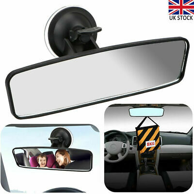 Car Auto Wide Flat Interior Rear View Mirror With Suction Cup Stick Rearview UK • 8.99£