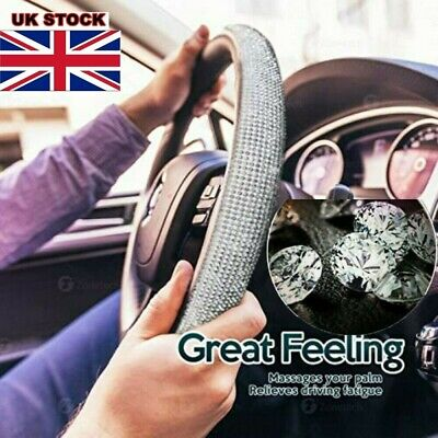 UK Car Steering Wheel Crystal Sparkled Diamond Cover PU Leather Skidproof Bling✨ • 10.78£