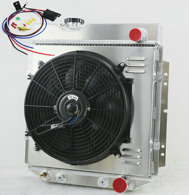 4 Row 62mm Radiator+Shroud+Fan+Relay For Ford Mustang 260 289 V8 64-1966 AT/MT • 239£