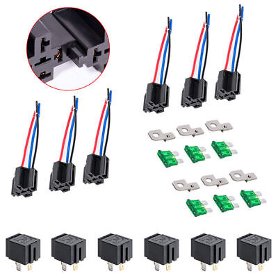 6pcs Quality 12V DC 40/30 Amp 4-Pin Automotive Relay Harness Set Switch Fuse HOT • 12.80£