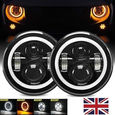 2x UK 7 Inch E9 Approved LED Headlight For LAND ROVER DEFENDER TD4 TD5 90 110 • 50.23£