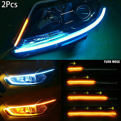 2x Sequential LED Strip Turn Signal Indicator DRL Daytime Running Lights For Car • 8.09£
