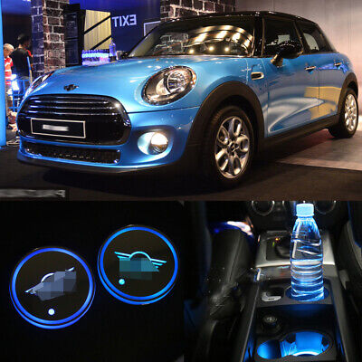2pcs Mini Cooper Clubman Cup Pad Car Accessories LED Light Cover Interior Lights • 10.99£