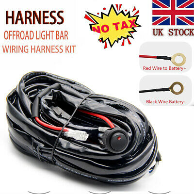 LED Work Light Bar Wiring Kit Harness Fog Driving Offroad W/ Fuse & Relay Switch • 14.89£