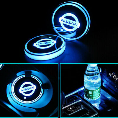 2x Car USB Interior LED Lights Drink Cup Holder Pad Accessories Decor For NISSAN • 11.90£