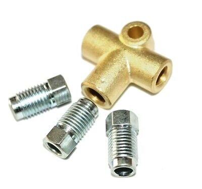 3 Way Brake T Piece Tee With 3 Male Nuts Long Union 3/8   UNF 24 TPI 3/16 Pipe • 7.45£