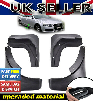 UKSTOCK 4pc FOR AUDI A4 B8 4-dr SALOON 08~13 MUD FLAPS SPLASH GUARDS FRONT REAR • 13.49£