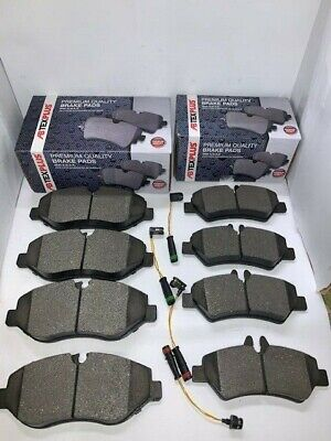 Front And Rear Brake Pads + Sensor Wire Fits VW Crafter 2006-2017 • 44.99£