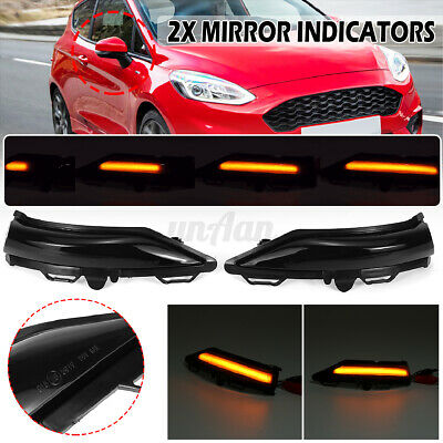 2x Dynamic LED Side Wing Mirror Repeater Indicator Light For Ford Fiesta MK8 19+ • 23.99£