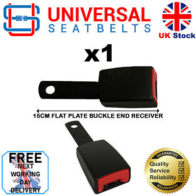 Universal 15 Cm Long Flat Plate Seat Belt Buckle End FREE NEXT DAY DELIVERY • 13.99£