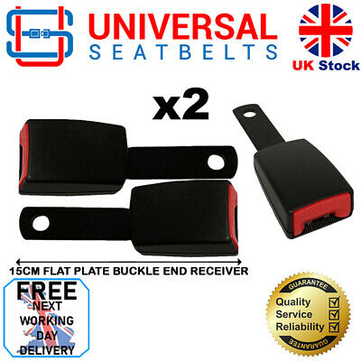 2 X Universal 15 Cm Long Flat Plate Seat Belt Buckle End FREE NEXT DAY DELIVERY • 22£