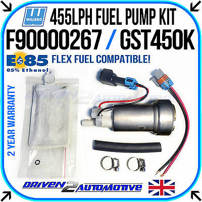 New Walbro In-tank 455lph Fuel Pump E85 Compatible W/ Genuine Walbro Fitting Kit • 99.79£