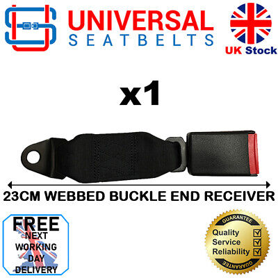 Universal Black 23 Cm Long Webbed Seat Belt Buckle End FREE NEXT DAY DELIVERY • 13.99£
