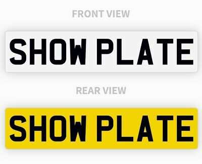Pair White & Yellow Show Custom Plates Printed On Number Plates NOT Road Legal • 13.95£