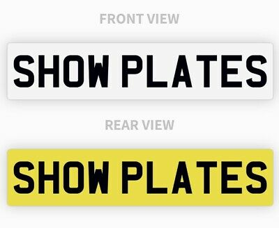 Pair White & Yellow Show Custom Plates Printed On Number Plates NOT Road Legal • 13.85£