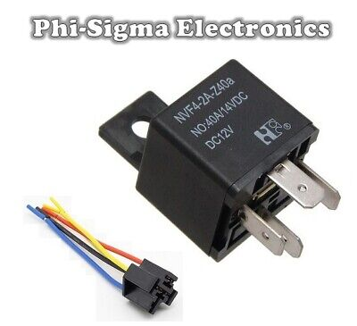 12V Automotive Relay - 4 Pin - Normally Open Contacts (SPST) + Mount + Socket • 4.34£