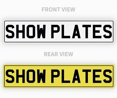 Pair White & Yellow Show Custom Plates WITH BLACK BORDER, NOT Road Legal • 14.95£