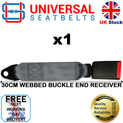 Universal Grey 30 Cm Long Webbed Seat Belt Buckle End FREE NEXT DAY DELIVERY • 13.99£