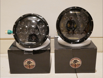 Land Rover Defender PAIR LED Headlights 7  Inch 90 110 Black FLY EYE Lens & DRL • 102£
