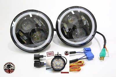 Pair 7  Led Black Halo Headlights E Marked Rhd 110 90 For Land Rover Defender • 107.95£