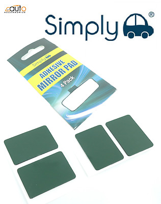 UNIVERSAL DOUBLE SIDED ADHESIVE STICKY PADS REAR VIEW INTERIOR GLASS MIRROR X4 • 2.50£