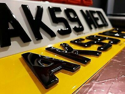 Number Plates Front And Rear 4D THICK Gel Domed Gloss Black Legal Reg Car Van • 41.19£