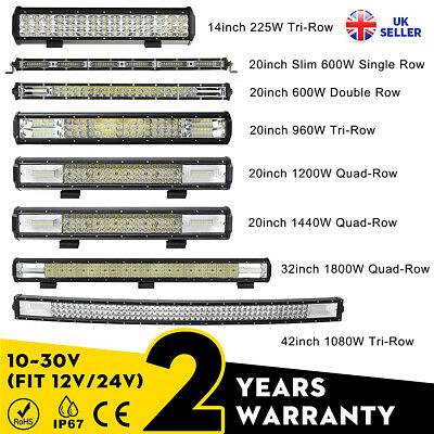 14/20/32/42'' Inch LED Work Light Bar Combo Offroad Driving Lamp Car Truck Boat • 23.02£