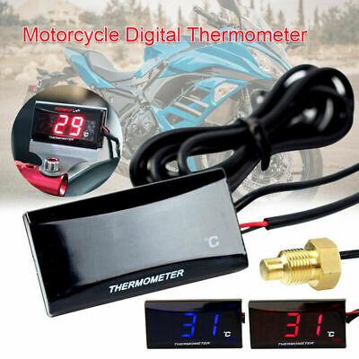 1x Motorcycle Digital Water Thermometer LCD Display Temp Temperature Gauge New • 10.99£