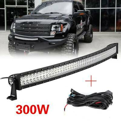52 INCH 300W Car FLOOD SPOT COMBO CURVED LED LIGHT BAR DRIVING OFFROAD LAMP SUV • 88.99£