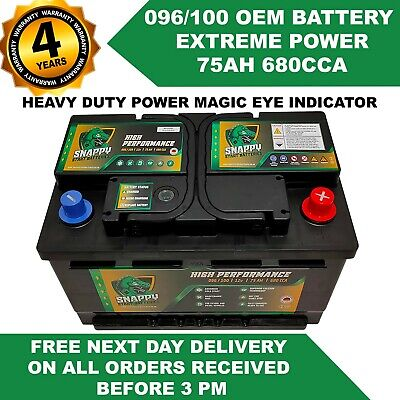 096-100 TRANSIT BATTERY 75ah Fully Charged FORD,PEUGEOT FITS MANY MAKES & MODELS • 44.90£