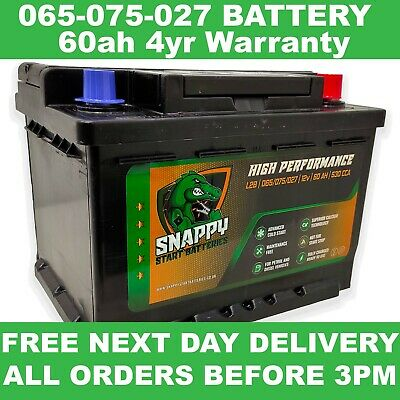 075 027 065 Battery 60ah Fully Charged FORD,PEUGEOT,VW, VAUX FITS MANY MORE • 43.99£