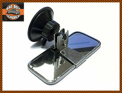 Classic Car Stainless Steel Rear View Interior Mirror Universal Suction Mount • 16.95£