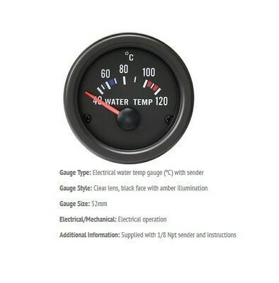 52mm Gauge Water Temperature Deg C Car Black Face With Clear Lens • 28.04£