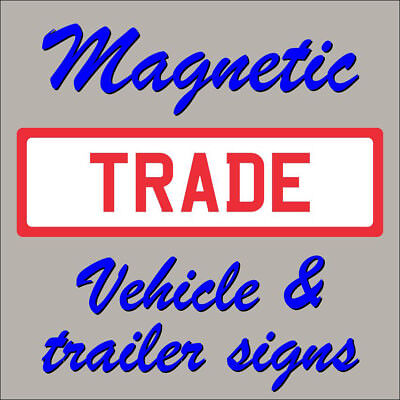 Vehicle Grade Magnetic Trade Plates Red On White  470mm X 140mm • 8.70£