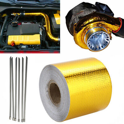 Heat Shield Wrap Tape Auto Exhaust Pipe Adhesive Reflective Aluminum Foil Gold • 9.59£