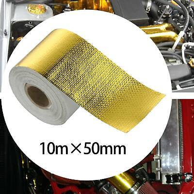 50mm X 10M Gold Roll Adhesive Reflective High Temperature Heat Shield Wrap Tape • 7.99£
